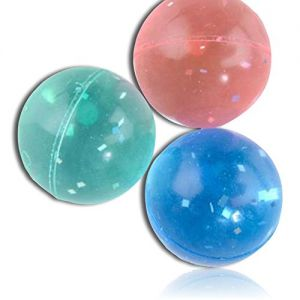 Custom & Unique {25mm} 1720 Bulk Pack, Mid-Size Super High Bouncy Balls, Made of Grade A+ Rebound Rubber w/ Translucent Neon Color w/ Metallic Silver Sparkle Shreds Pattern Style (Blue, Pink, & Green)