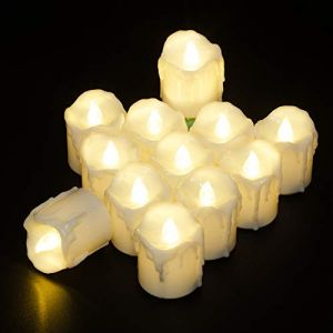 PChero 12pcs Battery Operated Warm White Timing LED Flameless Flickering Tea Lights Candles with Timer, 6Hours On Per 24Hours Cycle, Perfect for Birthday Wedding Home Decor - [1.7inch High Version]