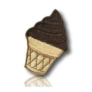 """[1 Count ] Custom and Unique (1.8"""" x 2.9"""" Inch) """"Dessert"""" Emoji Mr. Whippy Creamy, Pure, Crunchy, Sweet Chocolate Ice Cream Cone Emoticon Iron On Embroidered Applique Patch {Brown & Tan Colors}"""