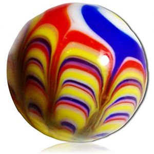 """Custom & Decorative {1"""" Inch} 1 Big-Size """"Round"""" Glass Marbles w/Beautifully Handmade Carnival Hot Air Balloon Primary Color Swirls Lines Swirly Fun Shooter Style [Red, Yellow & Blue] + Certificate"""