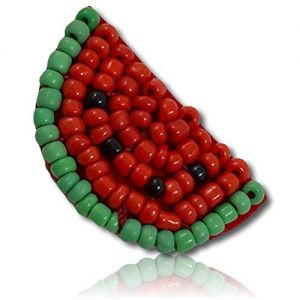 "Beautiful & Custom {1.5""x .5"" Inch} 1 of [Sew-On & Glue-On] Embroidered Applique Patch Made of Beads w/Flavorful Delicious Juicy Watermelon w/Different Shade Mixture Style {Red, Green, Black}"