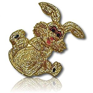 """Beautiful & Custom {8.2"""" X 6.5"""" Inch} 1 of [Sew-On & Glue-On] Embroidered Applique Patch Made of Sequins & Beads w/Adorable & Cute Bunny Rabbit w/Legs Up in Air & Arms Together in Cunning Sty {Gold}"""