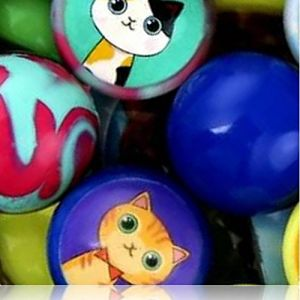 Custom & Unique {27mm} 2000 Bulk Pack, Mid-Size Super High Bouncy Balls, Made of Grade A+ Rebound Rubber w/ Kitties Kittens Cats Smiling Solid Swirled Twirled Two-Toned Marbled Dappled (Multicolor)