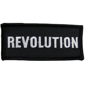"""[Single Count] Custom and Unique (1 1/2"""" by 3 1/2"""" Inches) Revolution Name Tag Badge Iron On Embroidered Applique Patch {Black & White Colors}"""