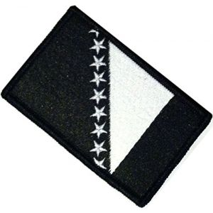 "[Single Count] Custom, Cool & Awesome {2.15"" x 3.4"" Inches} Small Rectangle Bordered Bosnia & Herzegovina Bosnian National Flag Tactical Style Design (Military Type) Velcro Patch ""Black & White"""