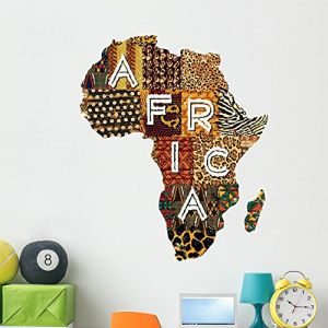 Wallmonkeys Patchwork Africa Wall Decal by Peel and Stick Graphic (48 in H x 40 in W) WM366895