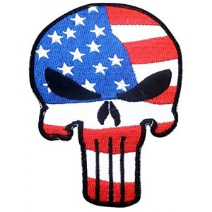 """[Single Count] Custom, Cool & Awesome {3.5"""" Inches} Small Frowning Punisher Skull American Flag (Comic Book Type) Velcro Patch """"Red, White, Blue & Black"""""""
