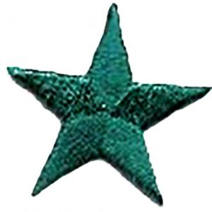 """[10 Count Set] Custom and Unique (1-1/4"""" Inch ) Original Geometric Five 5 Pointed Nautical Star Shape Iron On Embroidered Applique Patch {Green Colored}"""