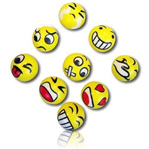 Custom & Unique {76mm} 12 Lot Pack, Mid-Size Super High Bouncy Balls, Made of Grade A+ Rebound Rubber w/ Bright Expressive Emoji Faces Crying Winking Heart Eyes Smile Anger Pattern Style (Multicolor)