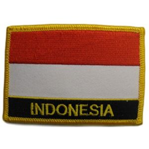"[Single Count] Custom and Unique (2 1/4"" by 3 1/4"" Inches) Rectangle Indonesian Travel Souvenir Indonesia Flag Iron On Embroidered Applique Patch {Red, White, Black & Gold Colors}"