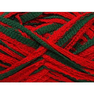 """Fabulous Crafts {128 Total Yards / 400g} 4 Skeins Pack of Durable"""" Size 6 Super Bulky Chunky Thick Roving"""" Yarn for Knitting, Crochet & More, Made of 100% Acrylic w/Amor Shade Style {Green & Red}"""