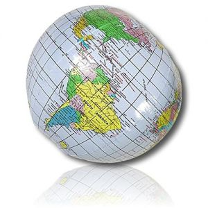 """ULTRA Durable & Custom {10"""" Inch} 25 Bulk Pack of Mid-Size Inflatable Beach Balls for Summer Fun, Made of Lightweight FLEX-Resin Plastic w/ Solar System Universe Planet Earth Map Style {Multicolor}"""