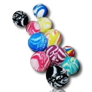 Custom & Unique {27mm & 45mm} 25 Lot Pack, Mid-Size Super High Bouncy Balls, Made of Grade A+ Rebound Rubber w/ Planetary Galaxy Cosmos Swirls Marbled Whirlpool Dappled Clouded Smooth (MultiColor)