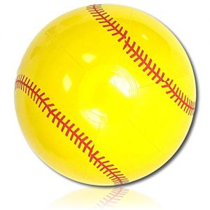 """ULTRA Durable & Custom {12"""" Inch} One Single Mid-Size Inflatable Beach Ball for Summer Fun, Made of Lightweight FLEX-Resin Plastic w/ Athletic Sports Game Softball Team Player Style {Yellow & Red}"""
