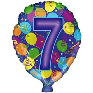 """Custom, Fun & Cool {Big Large 18"""" Inch} 2 Pack of Helium & Air Mylar Foil Balloons w/ Happy Birthday Celebration Numbers 7 Seven Design [in Purple, Teal, Orange, Yellow & Green]"""