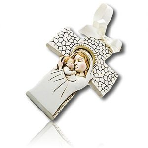 """Custom & Decorative {3.5"""" x 4.75"""" Inch} 75 Wholesale Pack Of, Mid-Size Hanging Ornament Made of Grade A+ Poly Resin w/ Madonna & Child Virgin Mary & Baby Jesus Cross Shape {Tan, White, Black & Gold}"""