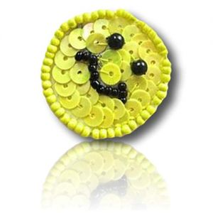 "Beautiful & Custom {1"" Inch} 10 Pack of [Sew-On & Glue-On] Embroidered Applique Patch Made of Beads & Sequins w/Happy Cheerful Smiley Face Emoji Emoticon w/Dark Facial Features Sty {Black, Yellow}"