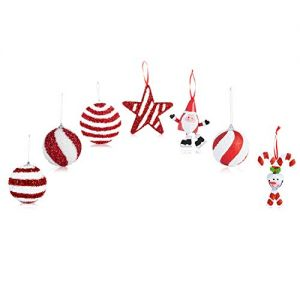 Santa's Gems Christmas Decorations Tree Ornaments Set Red and White Keepsake Box
