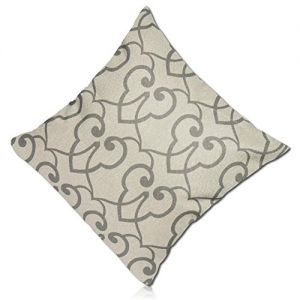"""Handmade {18"""" Inch} 1 Single Mid-Size, Hidden Zipper Removable """"Throw"""" Pillowcase Protector Cover Made of 200TC Smooth Polyester w/Two-Sided Classic Intertwined Trefoil Wallpaper Floral {Grey, Tan}"""