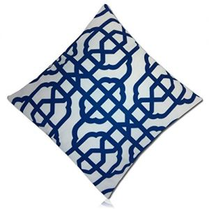 "Handmade {21"" Inch} 1 Single Mid-Size, Hidden Zipper Removable ""Throw"" Pillowcase Protector Cover Made of 200TC Smooth Velvet w/Two Sided Symmetrical Navy Anthemion Geometric Design {Blue & White}"