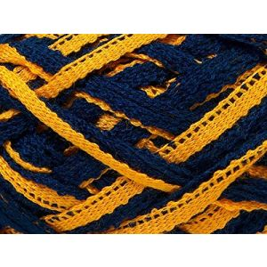 """Fabulous Crafts {128 Total Yards / 400g} 4 Skeins Pack of Durable"""" Size 6 Super Bulky Chunky Thick Roving"""" Yarn for Knitting, Crochet & More, Made of 100% Acrylic w/Reef Fish Style {Yellow & Navy}"""
