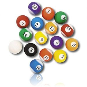 """Custom & Unique {32mm} 16 Lot Pack , Big-Size Super High Bouncy Balls, Made of Grade A+ Rebound Rubber w/ """"Pool Ball"""" Billiards Striped """"Cue Ball"""" Lined Dashed Banded Ruled Pocket Solid (Multicolor)"""