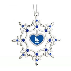 Los Angeles Dodgers Rhinestone Heart Christmas Ornament