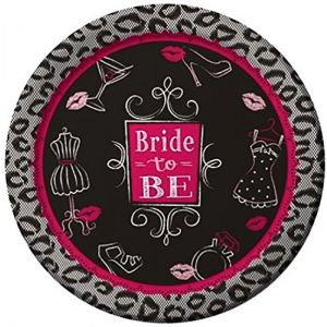 """Custom & Unique {9"""" Inch} 8 Count Multi-Pack Set of Medium Size Round Circle Disposable Paper Plates w/ Cute Bride To Be Bridal Shower Celebration w/ Leopard Print Border """"Black, Gray & Pink Colored"""""""