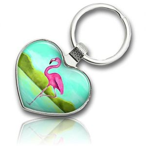 "Unique & Custom 1 Single Medium Size ""Split"" Heart Shaped Keychain Ring Made Of Chrome-Plated Metal w/ Flamingo Bird Standing In A Lake w/ Mountain Foothills Background {Silver, Pink, Teal, & Green}"