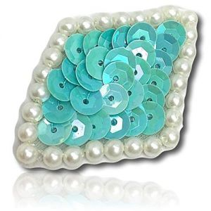 """Beautiful & Custom {2"""" Inch} 1 of [Sew-On & Glue-On] Embroidered Applique Patch Made of Sequins & Beads w/Delightful & Engaging Basic Diamond Shape w/Beautiful Pearl Border Design {Seafoam Green}"""