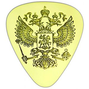 "Unique & Custom [0.38mm Thin Gauge - Traditional Style Semi Tip] Hard Luxury Guitar Pick Made of Genuine Solid Brass w/ Russian Double Headed Eagle Design ""Gold Yellow Colored"" {Single Pick}"