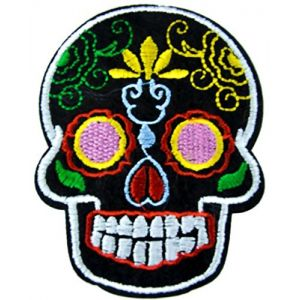 "[Single Count] Custom and Unique (3"" x 2 1/2"" Inch) ""Halloween"" Traditional Seasonal Day Of The Dead Celebration Sugar Skull Design Iron On Embroidered Applique Patch {Assorted Colors}"