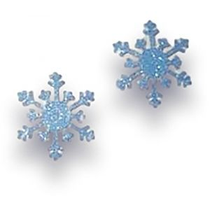 """Custom & Fancy {1"""" Inch} Approx 40 Pieces of Large """"Table"""" Party Confetti Made of Premium Card Stock w/ Winter Holidays Christmas Glitter Snowflake Shape Scatter Crafts White Backed Design [Blue]"""