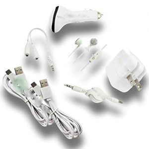 mySimple [6' Feet - 7 Pack] of USB Type-C 3 Data Sync Charger w/ 2 Tangle Free Matte Jacket Smooth Style Made of Rubber for Phones, Laptops & Tablets {White} w/ Car & Home Adapter, Headphones & 2 Aux