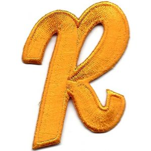 "[Single Count] Custom and Unique (2.25"" by 1.5"" Inches) ""Alphabet"" Letter R American Cool Simple Uppercase Blocked Cartoon Font Script Iron On Embroidered Applique Patch {Gold Color}"