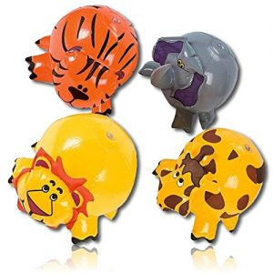 """ULTRA Durable & Custom {9"""" Inch} 4 Pack of Mid-Size Inflatable Beach Balls for Summer Fun, Made of Lightweight FLEX-Resin Plastic w/ Elephant Tiger Lion Giraffee Jungle African Animals {Multicolor}"""