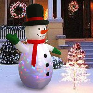 Sunlit 6ft Kaleidoscope Lightshow Colorful Lights Airblown Snowman Christmas Inflatable Lighted Yard Decoration with Blower and Adaptor for Indoor Porch Outdoor