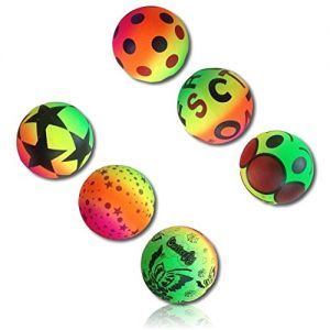 Custom & Unique {177mm} 6 Lot Pack, Mid-Size Super High Bouncy Balls, Made of Grade A+ Rebound Rubber w/ Abstract Neon Color Rainbow Butterflies Stars Dots Letters & Face Pattern Style (Multicolor)
