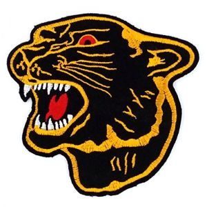 Asian 108 Markets Gold Edges Black Panther Patches - Tiger Patch - Applique Embroidered Patches - Iron on Patches - Backpack Patches - Size 10.5 x 10 cm.