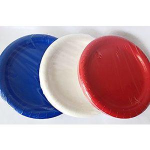 "Custom & Unique {8.75"" Inch} 60 Count Bulk Multi-Pack Set of Medium Size Round Circle Disposable Paper Plates w/ Simple Patriotic Fun USA Labor Day Party Design ""Red, White & Blue Colored"""