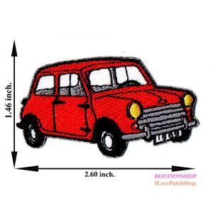 """Red Classic Mini Cooper Mini Car Patch"" Iron on Patch 1.46""x2.60"" Appliques Hat Cap Polo Backpack Clothing Jacket Shirt DIY Embroidered Iron on / Sew on Patch"