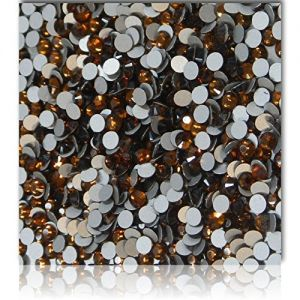 """100% Custom Made (2.0mm) 720 Wholesale Pieces of Mini Size """"Glue-On"""" Flatback Embellishments for Decorating, Made of Acrylic Resin w/ Shiny Iridescent Event Rhinestone Bright Tea Style {Brown}"""