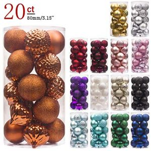 """KI Store 20ct Christmas Ball Ornaments Shatterproof Christmas Decorations Large Tree Balls for Holiday Wedding Party Decoration, Tree Ornaments Hooks Included 3.15"""" (80mm Bronze)"""