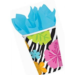 Durable & Non-Toxic {9 Ounce} 8 Count of Recyclable Mid-Size Disposable Cups, Made of Paper w/ Plain Solid Opaque Classic Simple Colorful Tropical Zebra Print Style {Black, Pink, & White}