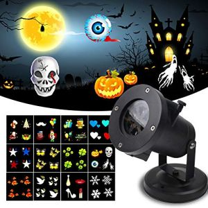 KOOT Halloween Light Projector, Christmas Lights Holiday Outdoor Waterproof Landscape Garden Range 40ft Projection Distance 12 Festive Lights Designs Holiday Birthday Wedding Dance Party etc