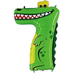 """Custom, Fun & Cool {XXL Massive Huge Size 40"""" Inches - 3.3 Feet} 1 Unit of Helium & Air Inflatable Mylar Aluminum Foil Balloon w/ Cute Animal Numbers Alligator 7 Seven Design [in Green & Yellow]"""