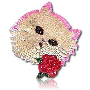 "Beautiful & Custom {6"" Inch} 10 Pack of [Sew-On & Glue-On] Embroidered Applique Patch Made of Sequins w/Cute & Cuddly Abyssinian Cat w/Salmon Border Outline & Pretty Rose Style {Beige, Red, Pink}"
