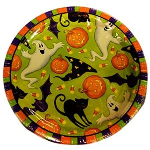 "Custom & Unique {7"" Inch} 18 Count Bilk Multi-Pack Set of Medium Size Round Circle Disposable Paper Plates w/ Ghosts Bats Cats Hats & Pumpkins Halloween ""Green, Orange, Purple Black & White Colored"""