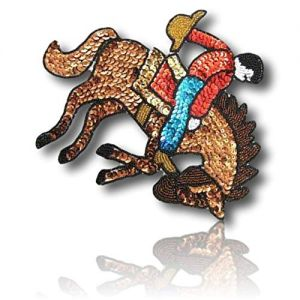 """Beautiful & Custom {9"""" x 7"""" Inch} 1 of [Sew-On & Glue-On] Embroidered Applique Patch Made of Sequins & Beads w/Cool Cowboy in Action Trying to Buck A Horse While Holding Hat in Hand {Multicolored}"""