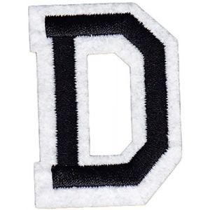 "[Single Count] Custom and Unique (2"" Inches) American Alphabet Letters Cool College Varsity Letterman Capital Letter D Iron On Embroidered Applique Patch {Black & White Color}"